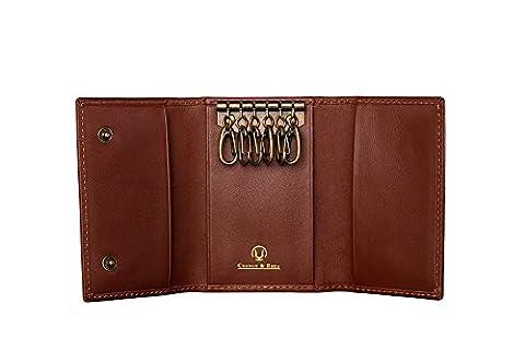 Cronus & Rhea® | Luxus Schlüsseletui aus exklusivem Leder (Janus) | Schlüsselmäppchen - Schlüsselanhänger | Echtleder | Mit eleganter Geschenkbox | Herren - Damen (Cognac)