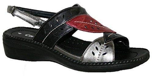Mesdames coussin Walk léger dété à talon sandale avec motif feuilles Black/Red