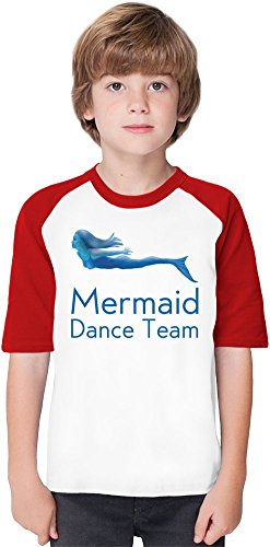 Mermaid Dance Team Funny Slogan Soft Material Baseball Kids T-Shirt by Benito Clothing - 100% Organic, Hypoallergenic Cotton- Casual & Sports Wear - Unisex for Boys and Girls 7-8 years (Dance Team-t-shirts)