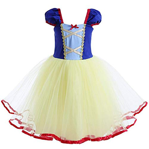 IWEMEK Mädchen Schneewittchen Kleid Kleinkind 1. / 2.Geburtstag Prinzessin Cosplay Kostüm Karneval Fancy Dress Up Grimms Märchen Halloween Partykleid Faschingskostüm für Neugeborenes Säugling 4-5