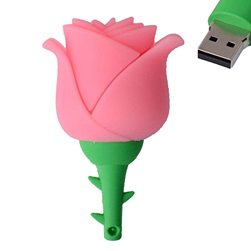 Hosaire Memoria Flash USB de 4GB/8GB/16GB/32GB/64GB/128GB,USB 2.0 Flash Drive de USB Almacenamiento de Datos Externo, Diseño de Forma de Rose(16GB)