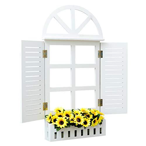 ZHANWEI Gartenregal Blumenregal Holzkunst An Der Wand Montiert Landhausstil Weiß, 2 Größen (Farbe : L-41x9x80cm)