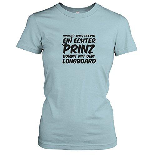 TEXLAB - Ein echter Prinz kommt mit dem Longboard - Damen T-Shirt Hellblau