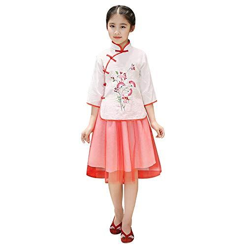 ZooBoo Chinesisches Performance Kleid Cheongsam - Traditionell Aufführung Kostüm Abend Kleidung Cosplay Outfit Stehkragen Stickmuster Anzug für Kinder Mädchen (Körpergröße 150 cm, Rot)