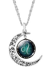 Jiayiqi mujeres Moda Doce Constelaciones encanto de cristal de la bóveda colgante collar de la luna