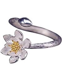 Silberring Lotus Blume Seerose Golden Ring Silber 925 Verstellbar Offen