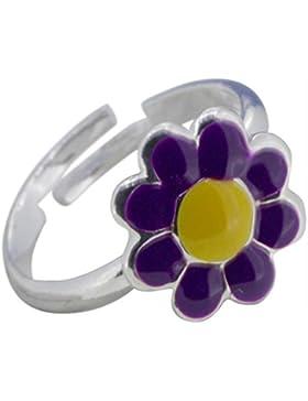 SL-Collection Ring Kinderring bunte Blume Grösse einstellbar 925 Silber