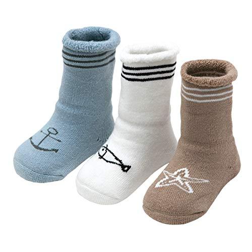 ANIMQUE Baby Winter Socken Dicke Cartoon Tiere 0-6 Monate Neugeborene Kleinkind Jungen Mädchen Baumwolle Söckchen Warm 3er Pack (KT-B)