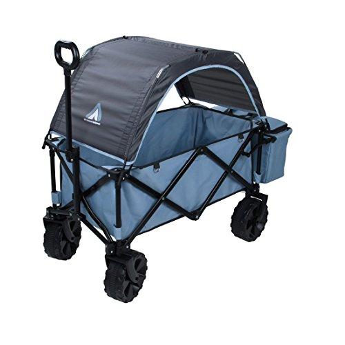 10T Roof Trolley Bollerwagen mit Dach Faltbarer Handwagen mit Kühltasche & Heckfach Strandwagen