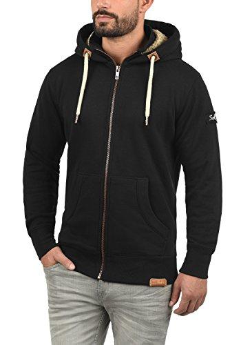 !Solid Trip-Zip Pile Herren Sweatjacke Kapuzen-Jacke Zip-Hoodie mit Teddy-Futter aus hochwertiger Baumwollmischung, Größe:S, Farbe:Black Pil (P9000) - 2