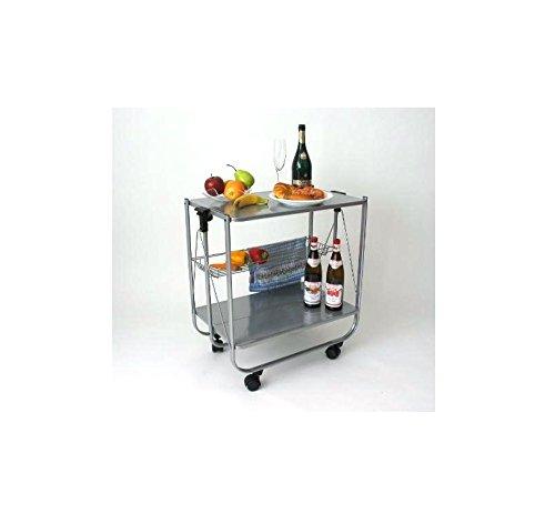 abc HOME living Servierwagen | Rollwagen | Küchenwagen Lackierter Stahl, Metall, Grau, 64 x 40 x 69 cm