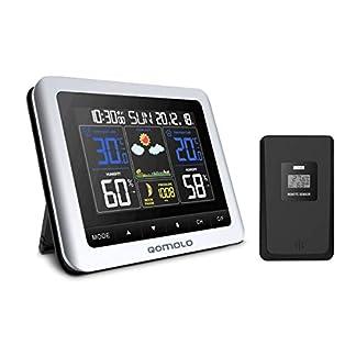 Qomolo Estación meteorológica inalámbrica con Monitor de Humedad y Temperatura Interior, Sensor Exterior, Fecha, Reloj Despertador, Fase Lunar (Estación Meteorológica)