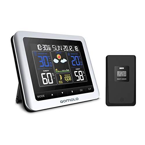 Qomolo Estación meteorológica inalámbrica con Monitor de Humedad y Temperatura Interior, Sensor Exterior...