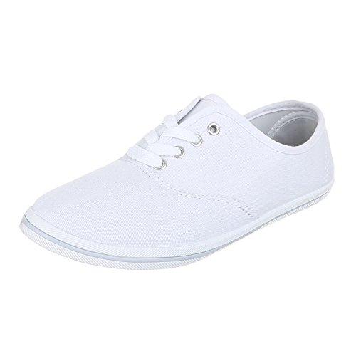 Damen Schuhe, F-03, FREIZEITSCHUHE LEICHTE TURNSCHUHE Weiß  [B01BMBUL0E]