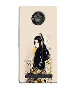 PrintVisa Designer Back Case Cover for YU Yuphoria (Goldblack stunning look of a girl)