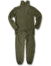 Sous-vêtements longs en thermopolaire avec haut à fermeture Éclair Vert olive