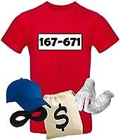 T-Shirt Panzerknacker Kostüm-Set Wunschnummer Cap Maske Karneval Herren XS - 5XL Fasching JGA Party Sitzung