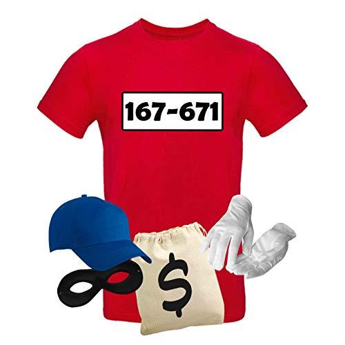 Singles Kostüm - T-Shirt Panzerknacker Kostüm-Set Wunschnummer Cap Maske Karneval Herren XS - 5XL Fasching JGA Party Sitzung, Größe:XL, Logo & Set:Standard-Nr./Set Deluxe+ (167-761/Shirt+Cap+Maske+Hands.+Beutel)