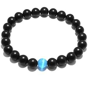 Agata nera vera perle gemma Matte, Maxin 8MM semi-preziose pietre preziose pietra di energia di potere curativo di cristallo elastico Stretch allentato Bracciale Uomo Bracciale-Natural