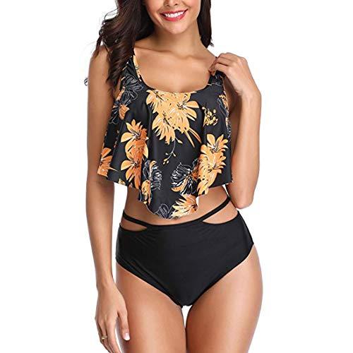 Vintage Flaches Blatt (Shujin Damen High Waist Bademode Sommer Strand Retro Bikini Set mit Rüschen Vintage Ruffles Zweiteiliger Badeanzug und Hoher Taille Bikinihose, Gelbes Blatt, M)