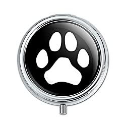 Graphics and More Paw Print Dog Cat White on Black Pill Case Trinket Gift Box
