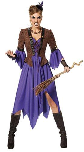 Hexe Märchen Lila Kostüm Und Schwarz - Karneval-Klamotten Hexenkostüm-e Damen Märchen-Hexe lila schwarz Halloween Größe 40