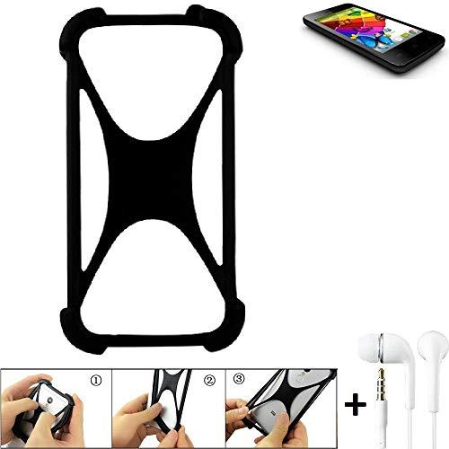 K-S-Trade Handyhülle für Mobistel Cynus E4 Schutzhülle Bumper Silikon Schutz Hülle Cover Case Silikoncase Silikonbumper TPU Softcase Smartphone, schwarz (1x), Headphones