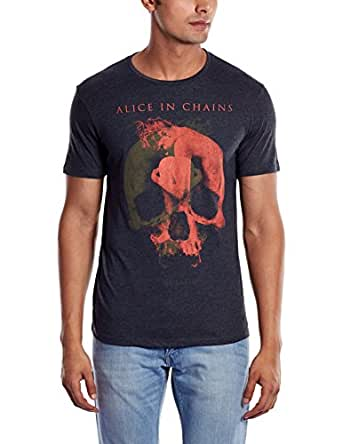 Alice In Chains Men's T-Shirt (8903346389452_AL1DMT03_XXL_Anthra Melange)