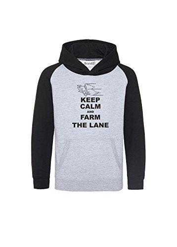 Keep Calm and Farm the Lane, Kinder Baseball Kaputzenpulli - Grau & Schwarz 9-11 Jahre (Dragons-baseball-team)