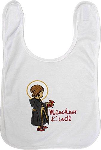 Baby-Lätzchen mit Stickmotiv - Münchner Kindl - 08465 - weiss
