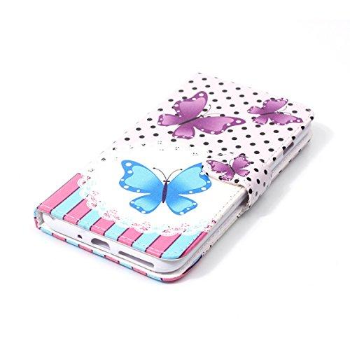 iPhone 7 Plus Coque, Apple iPhone 7 Plus Coque, Lifeturt [ Moonlight papillon ] Coque Dragonne Portefeuille PU Cuir Etui en Cuir Folio Housse, Leather Case Wallet Flip Protective Cover Protector, Etui E02-Purple Butterfly