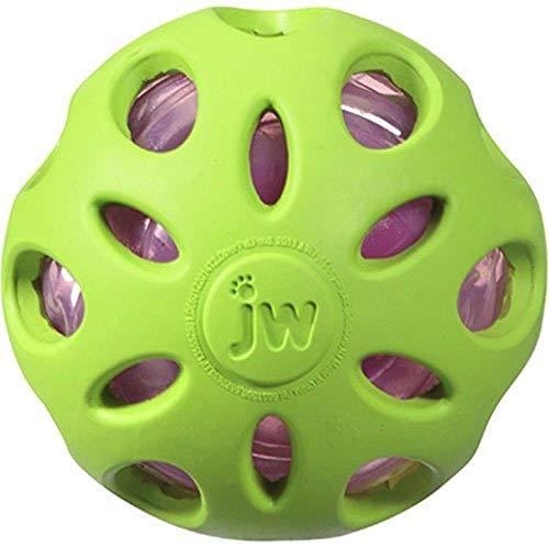 J.W. JW JW47014 Crackle Ball, Gummiball mit einem Kunststoff-Flaschenherz für Hunde, M -