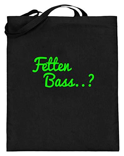 en Bass.? - DJ, Discjockey, Diskjockey, Musik, Disko, Diskothek, Tanzen, Tanzmusik - Jutebeutel (mit langen Henkeln) -38cm-42cm-Schwarz ()
