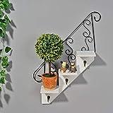 GLXQIJ Blumentopf Regal Wendeltreppe Design Display Rack 3 Tier EuropäIschen Retro, Home Ornamente Lagerregal Dekorative Pflanze,White