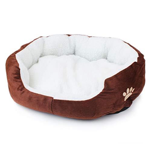 Süßigkeit-Farben-Tatze-kleines Hundebett-weiches Berber-Vlies-Hundesofa-Winter-warme Katzen-Betten S/M (Color : Coffee, Size : S) -