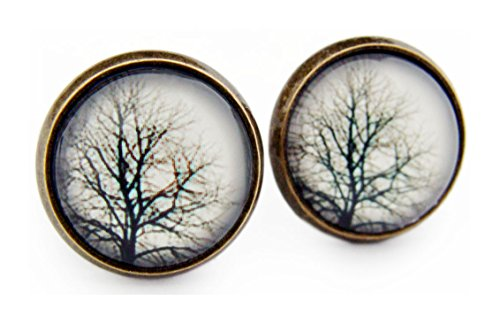 Miss Lovie Damen Ohrstecker Blätter Baum Ohrringe Tree Natur Cabochon 12mm Modeschmuck Grau Bronze