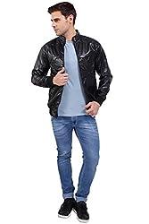 A.B.C. Garments Black Designer Faux Leather Jacket For Men