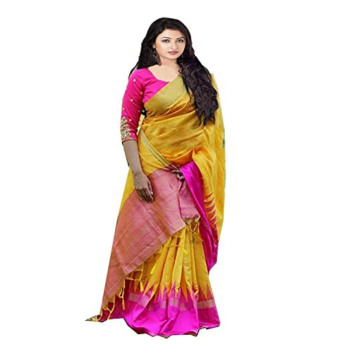 FabDiamond Women's Yellow Colour Cotton Saree With Blouse Piece(pink Pallu_Free_Size)