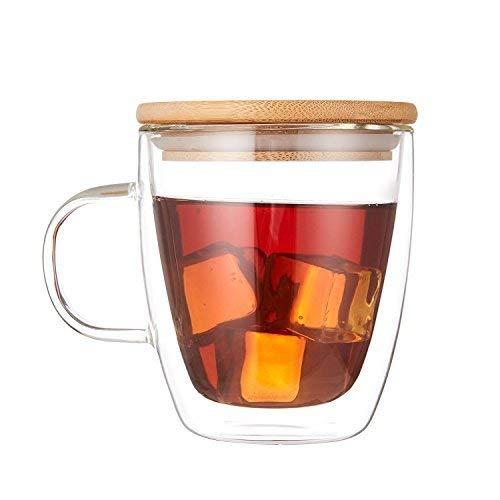 Cooko Kristall Kaffeegläser,Doppelwandige Gläser,Hitzebeständige Kaffeetassen, Hoher Borosilikat-Becher 350ml mit Deckell für Tee,Latte,Milch,Bier,Saft(1er Set) - Kristall Kaffee