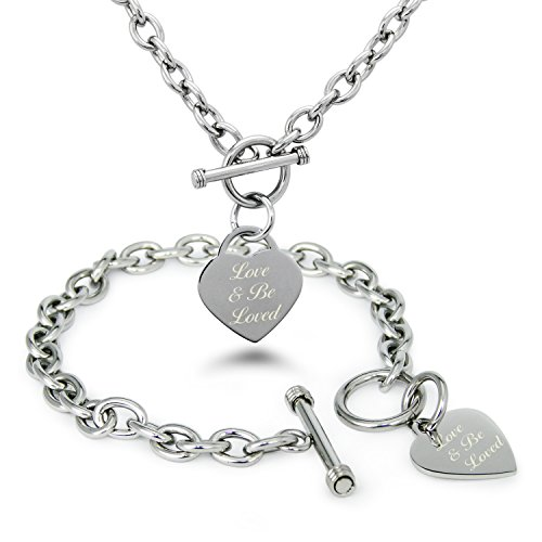 Acciaio-Inossidabile-Love-Be-Loved-Ama-e-Sii-Amato-Inciso-Modifica-del-Cuore-Toggle-Bracciale-e-la-Collana