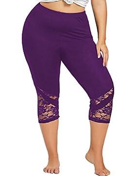 DAYLIN Moda Talla Grande Encaje Pantalones Ajustados Yoga Pantalones Deportivos Polainas para Mujer
