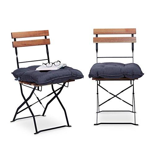Relaxdays Sitzkissen 45 x 45 cm, 2er Set Gartenstuhlauflage mit Band, Bequeme Sitzpolster für...