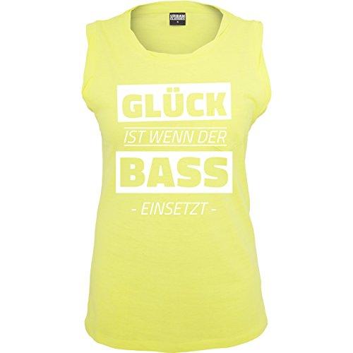Festival - Glück ist wenn der Bass einsetzt - ärmelloses Damen T-Shirt mit Brusttasche Neon Gelb