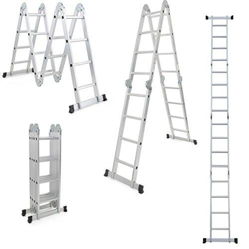 Profi 8 - 20 Stufen Mehrzweckleiter Leiter Aluleiter Steigleiter Klappleiter Bockleiter Alu Malerleiter (4x4 Stufen)