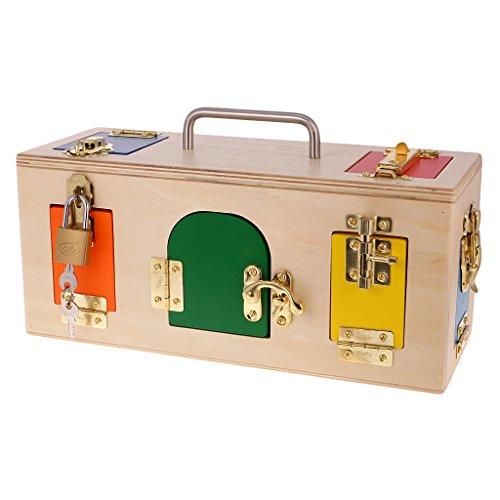 MagiDeal Holz Montessori Material Lock Box Verschluss Kasten Lehrspiel Kinder Pädagogisches Spielzeug