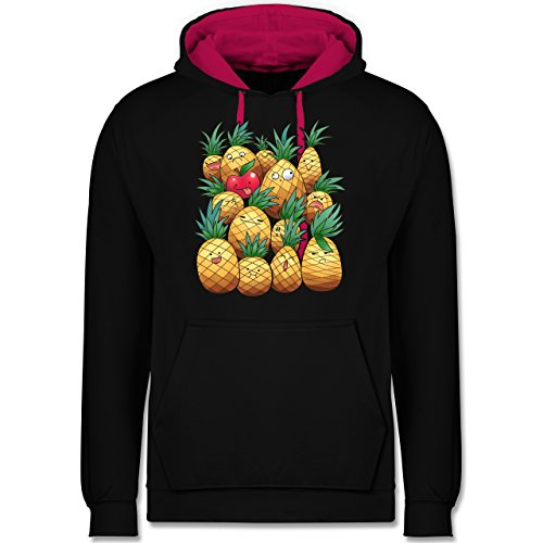 Comic Shirts - Süße Ananas Party - Kontrast Hoodie Schwarz/Fuchsia