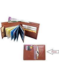 Men's Tan Wallet With Free Card Holder Wallet. Combo Of Wallet And Card Holder