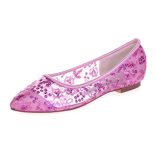 L @ yc 2046-18 Zapatos De Salón Con Lazo De Encaje Para Mujeres Con Punta Plana Y Puntera Cerrada Rosa
