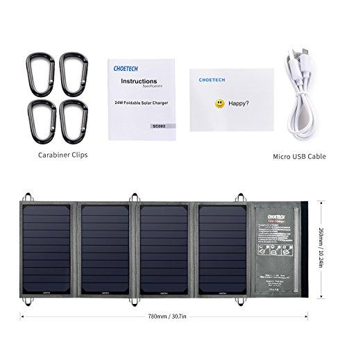 CHOETECH 24W caricatore solare con 2 porte USB per Iphone, iPad, Samsung e altri dispositivi USB compatibili.