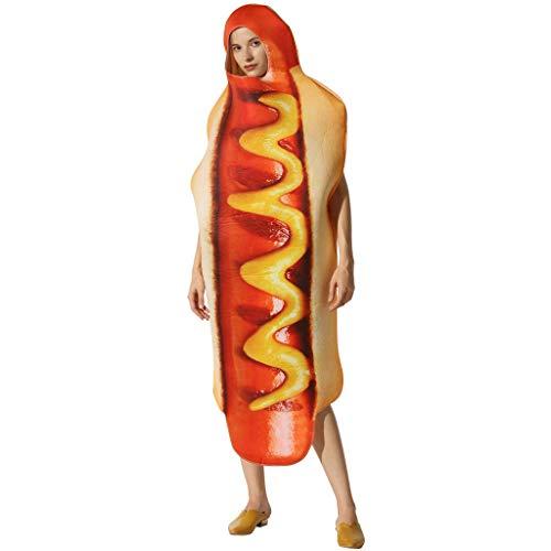EraSpooky Unisex Essen Lebensmittel Hotdog Kostüm Faschingskostüme Einteiler Halloween Party Karneval Fastnacht Kleid für Erwachsene Herren Damen